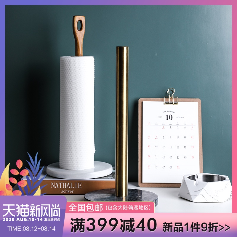 Sheli Nordic Denmark Kitchen Marble Base Brass Paper Towel Holder Kitchen Roll Holder Desktop Roll Paper Storage Seat Shopee Indonesia