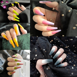 Xianstore 24pcs Set Kuku Palsu Full Cover Warna Gradasi Untuk Nail Art Manicure Diy thumbnail