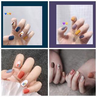 Stiker Kuku Anti Air Warna Ungu untuk Nail Art Musim Panas Semi thumbnail