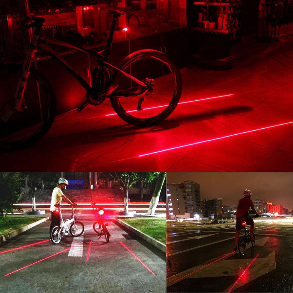 Warning Safety 5 LED 2 Laser Flashing Light Cycling Bicycle Bike Rear Tail Lamp