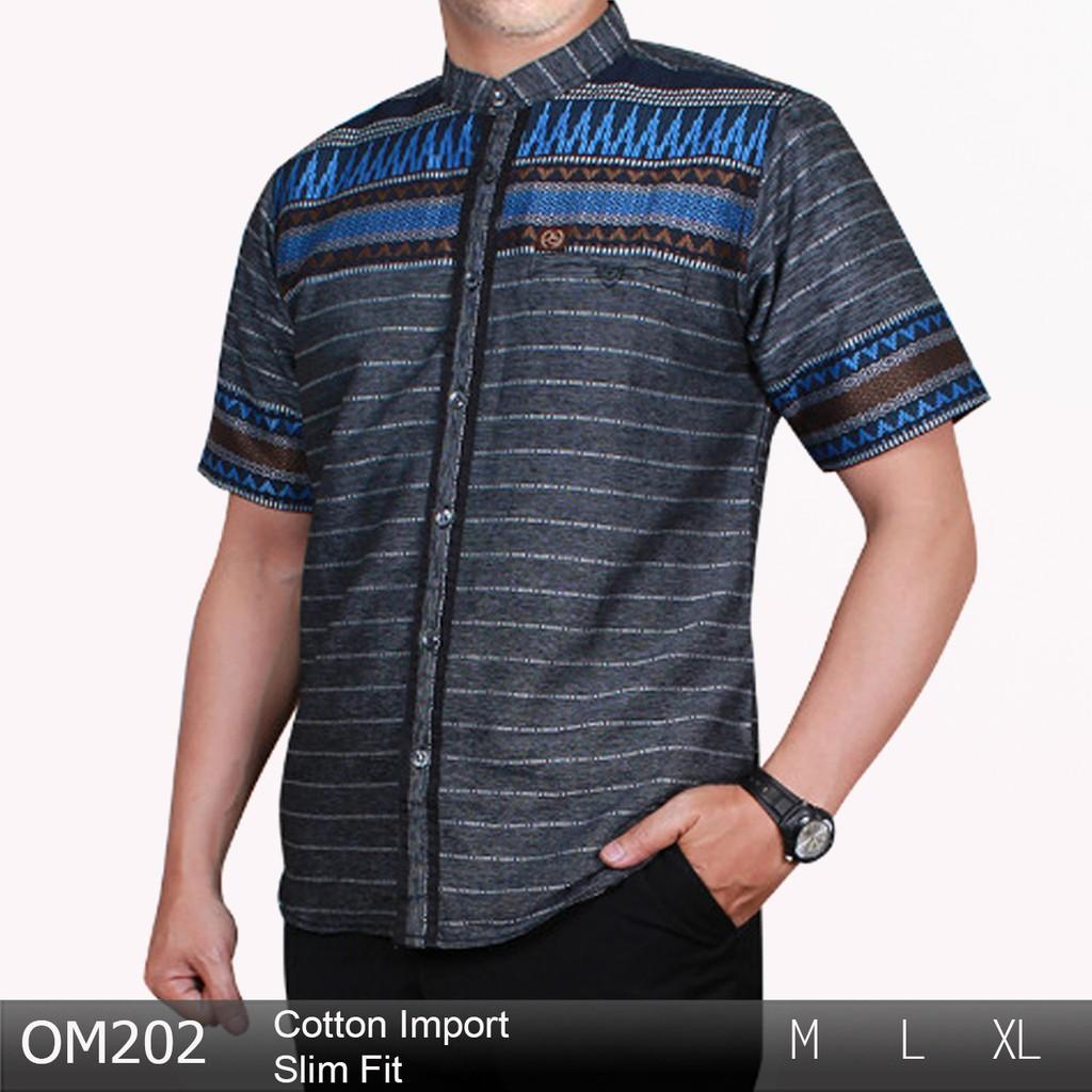 SAMASE KURTA 08 Baju Koko Terbaru Modern Kemeja Muslim Lengan Pendek  Kombinasi Abu Coklat  290ec4744e