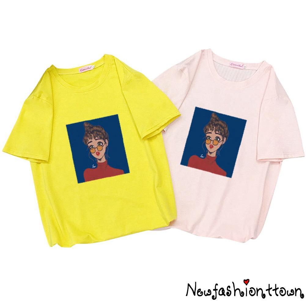 ღtwღUni Funny Graphic T Shirts Casual Crewneck Short Sleeve Daily Tee Shirt Couple T Shirt