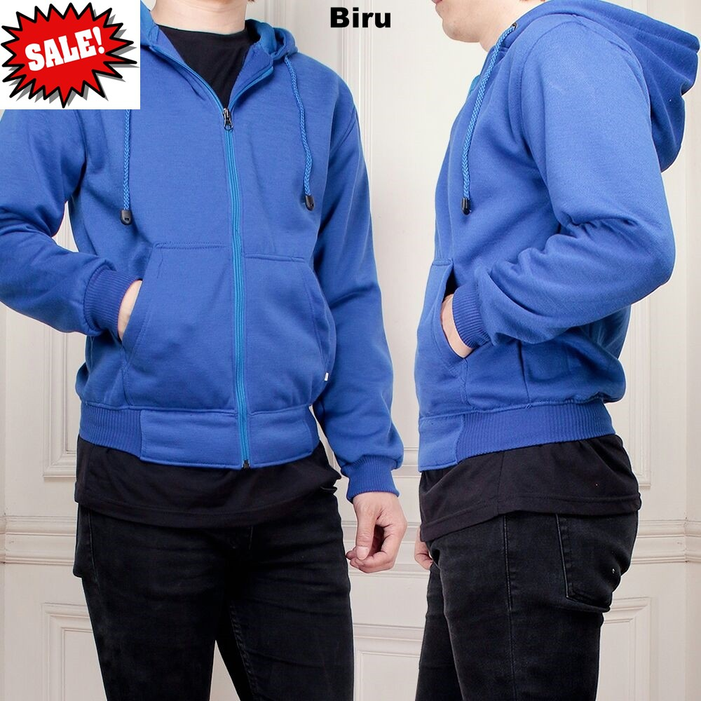 Promo Jaket Sweater Hoodie Polos Sleting Zipper Pria Cowo Cowok Keren Biru Murah Meriah Shopee Indonesia
