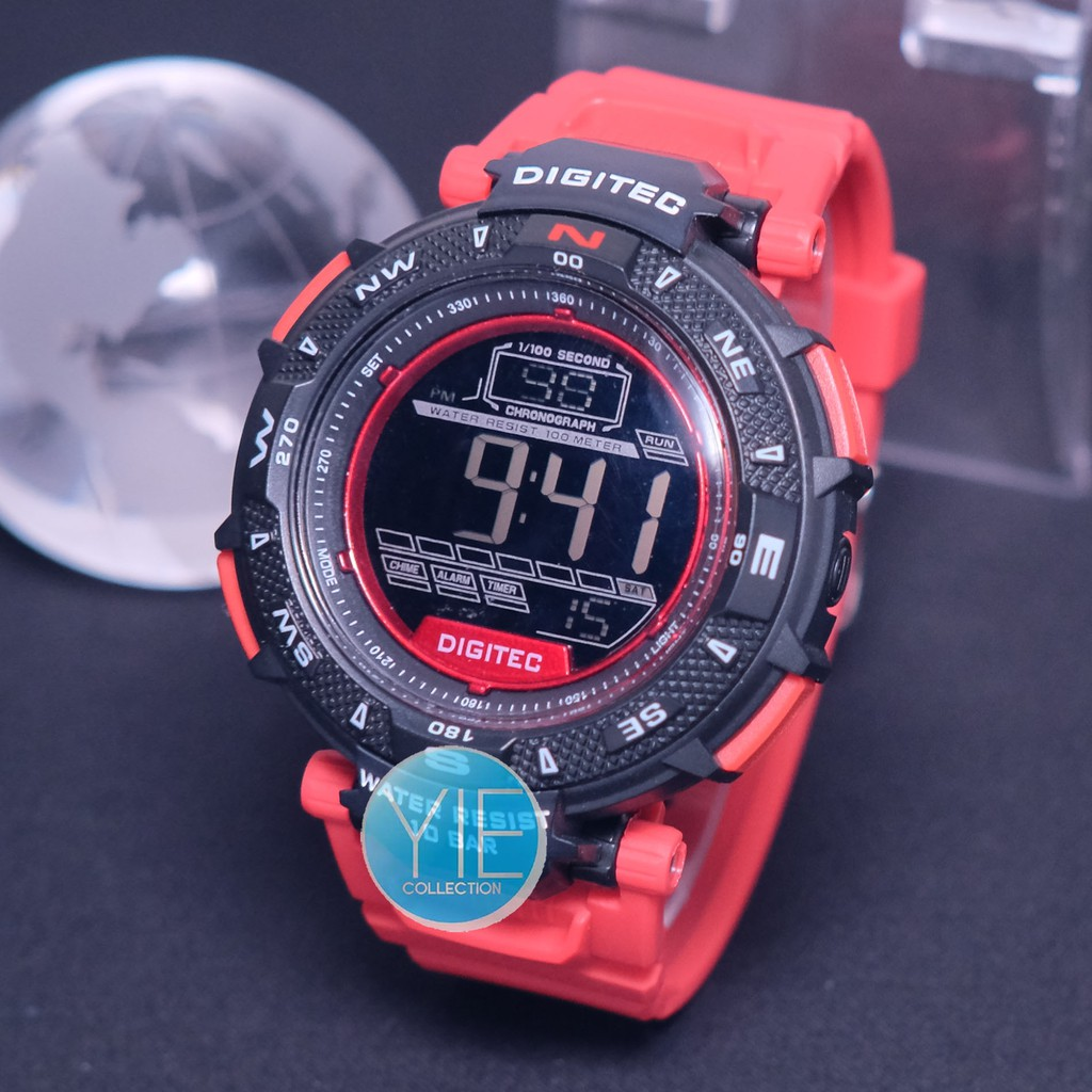 Jam Tangan Pria Sport Army Digitec World Time Dual Display DG 3061 Original Tahan Air -