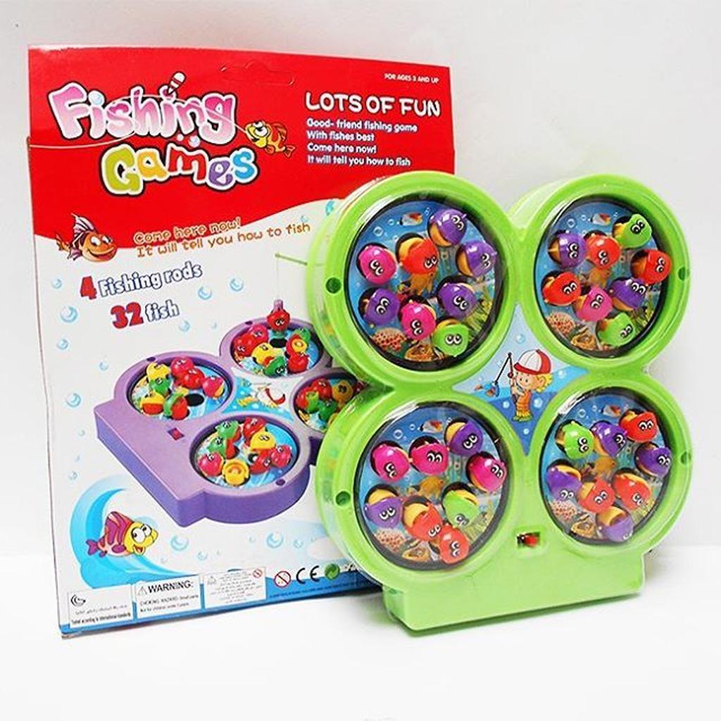 Mainan Pancing Ikan Magnet 4 Lubang 32 Ikan Rods  6fcb3c0bb2
