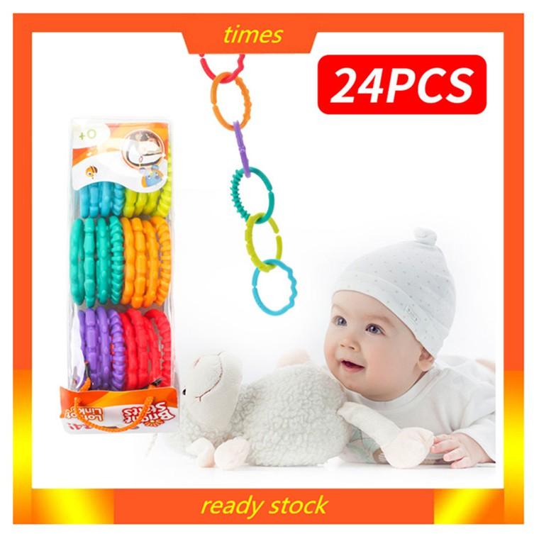 24 Pcs Mainan Teether Warna-warni untuk Bayi