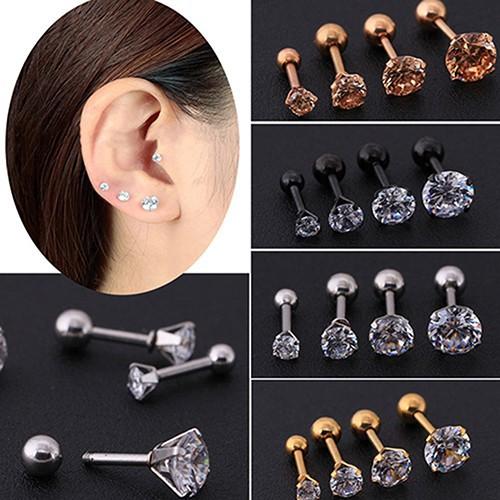 Beauty Pria Wanita Berlian Imitasi Cartilage Tragus Bar Helix Anting Telinga Atas Pejantan Perhiasan