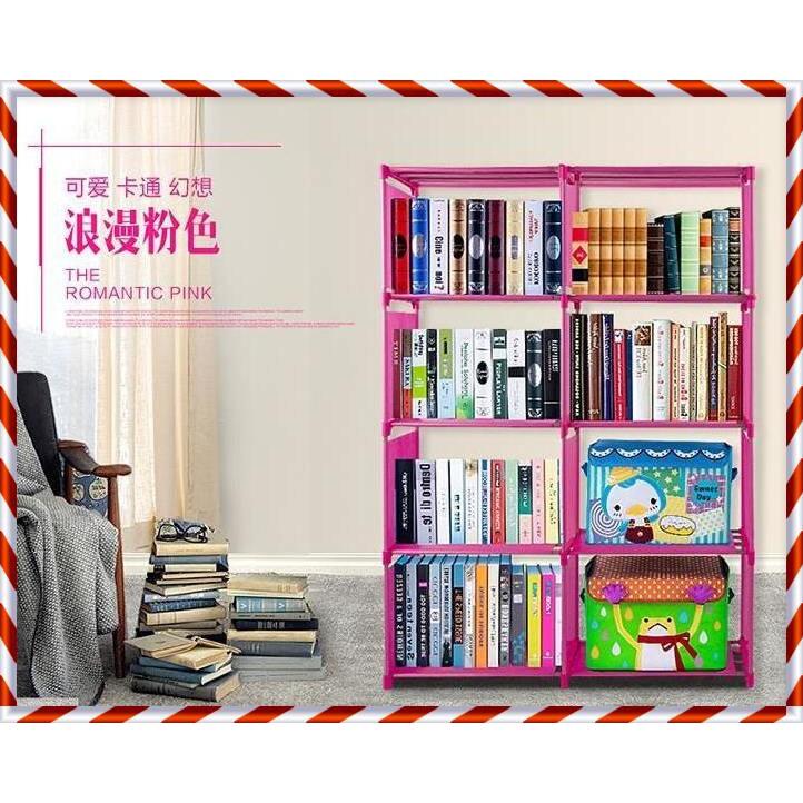Rak Buku Portable Serbaguna 3 Sisi, 9 Ruang, 12 Susun ( Mudah dibongkar Pasang) | Shopee Indonesia