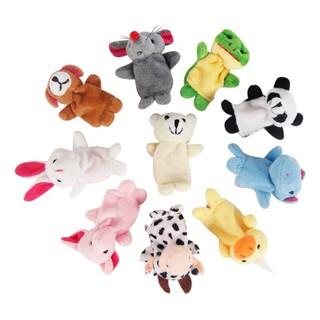 10Pcs   Set Boneka Jari Bentuk Binatang   Panda   Gajah   Kelinci Bahan  Velvet untuk Pesta 3261d912e4