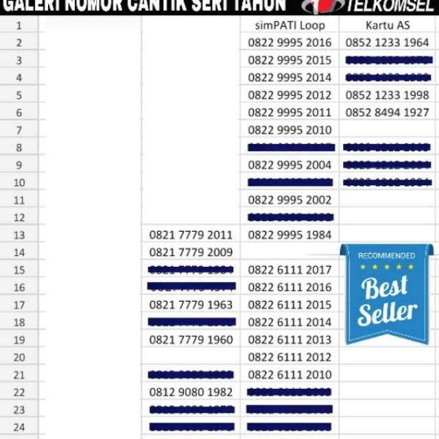 Nomor Cantik Kartu Perdana Telkomsel Simpati 4G LTE Seri Tahun | Shopee Indonesia