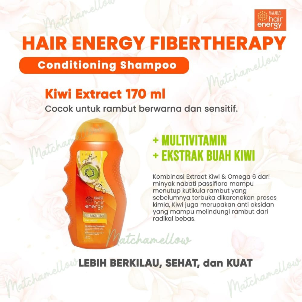 ❄️MATCHA❄️MAKARIZO HAIR ENERGY FIBERTHERAPY CONDI SHAMPOO 170 320 ML SAMPO PEMBERSIH RAMBUT 2IN1-6