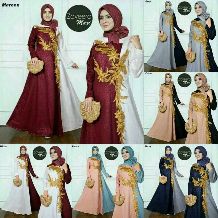 Ready Up Zaveera Maxi Dress Gamis Mosscrepe Emboss Kombi Renda Tempel Gliter