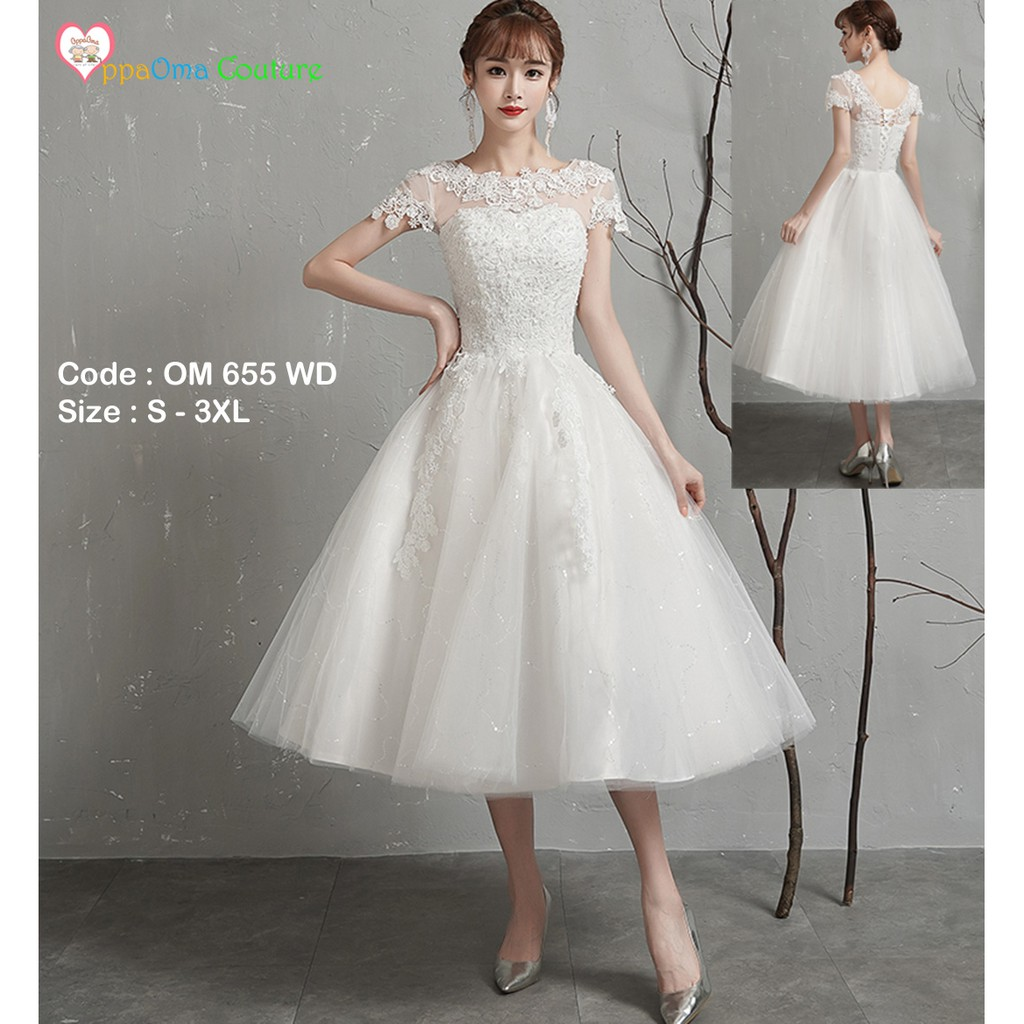 Gaun pengantin pendek kebaya modern corak bunga OM 9 WD