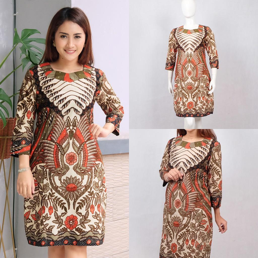 Baju Batik Wanita Ukuran Jumbo: INDIRA DRESS BATIK MODERN/ DRESS JUMBO/ BAJU BATIK WANITA