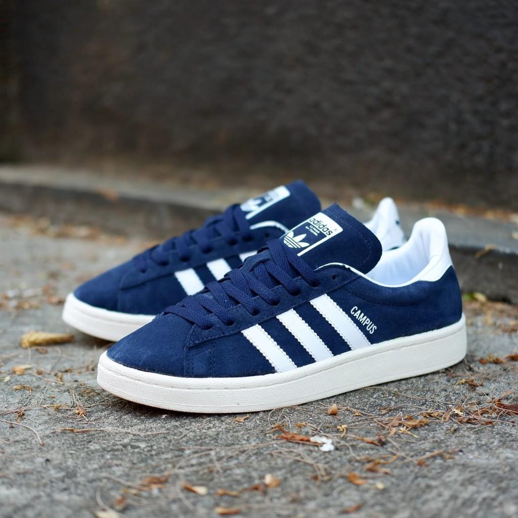 Sepatu Adidas Campus Navy White Original Shopee Indonesia