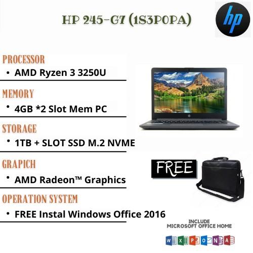 PROMO LAPTOP GAMING NEW RAM 12GB HDD 1TB AMD RYZEN 3250 - HP 245-G7/BK