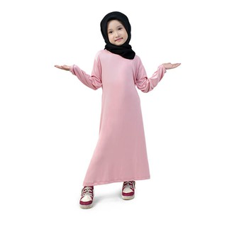 Baju Muslim Gamis Anak Perempuan Murah Polos Basic Jersey - Peach FJSS