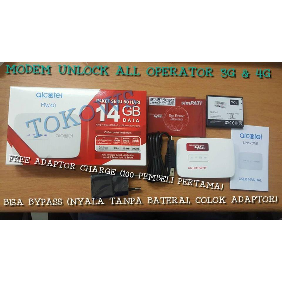 Promo Mifi 4g Alcatel Lte Mw40 Support All Operator Free Tsel Router Modem Wifi Huawei E5573 Bypass 14gb 2bln By Larva Shopee Indonesia