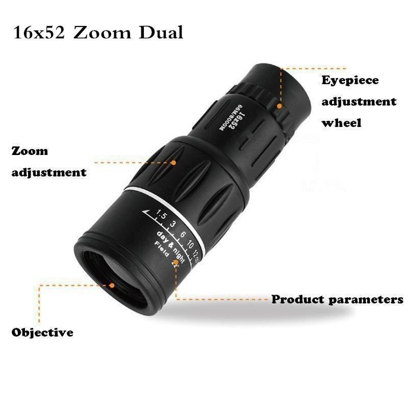 Everso Teleskop Monocular Lensa HD 2 Fokus Zoom Optical 16x52+Clip Phone Holder untuk Outdoor