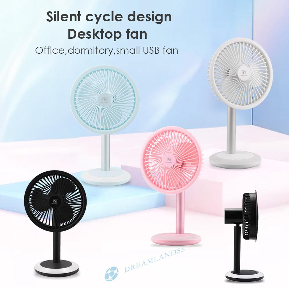 Dr Mini Oscillating Usb Rechargeable Quiet Desk Fan With Led Lights Shopee Indonesia