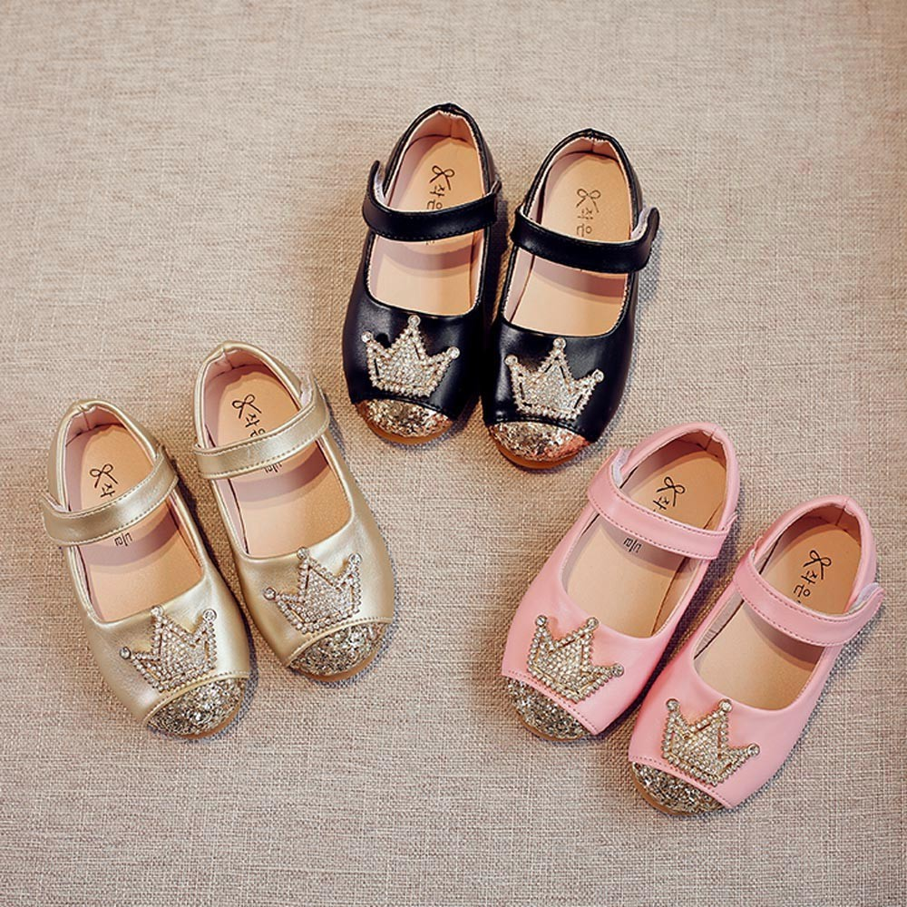 Toddler Kids Shoes Girls Baby Beading Shoes Princess Crown Sandals Single Shoes