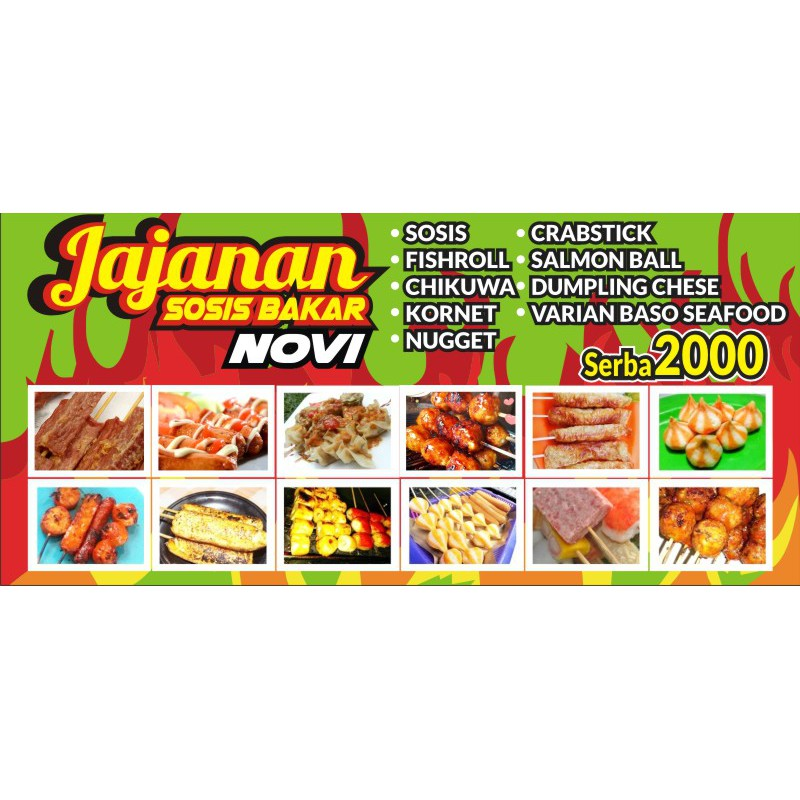 spanduk sosis bakar ukuran 2 x 1 shopee indonesia spanduk sosis bakar ukuran 2 x 1