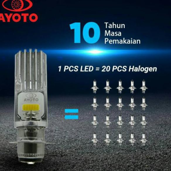 Terbaru' LAMPU LED DEPAN MOTOR AYOTO TYTO PUTIH KUNING 2SISI H6 BEBEK MATIC FU ORIGINAL ..