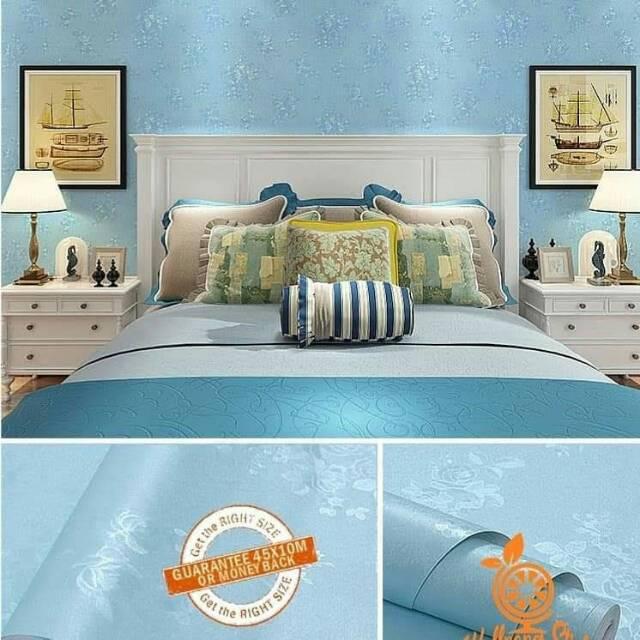 Wallpaper Sticker Dinding Motif Bunga Warna Biru Untuk Kamar Ruangan Cantik Elegan Modis Murah Laris Shopee Indonesia