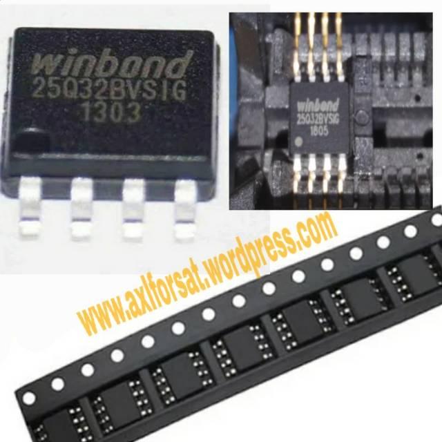 25Q32 IC eeprom 4MB bisa request Software Reciever atau TV LED/LCD