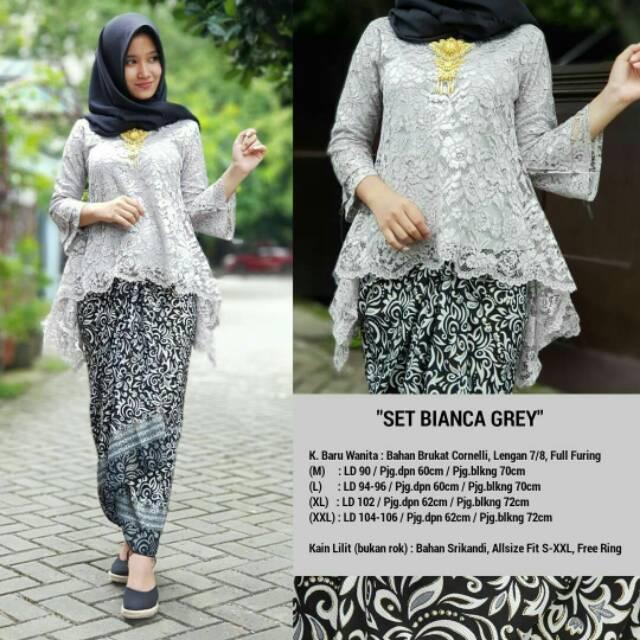 KEBAYA JADI BROKAT RINJANI SET GREY / KAIN LILIT / BYO2 9091 | Shopee Indonesia