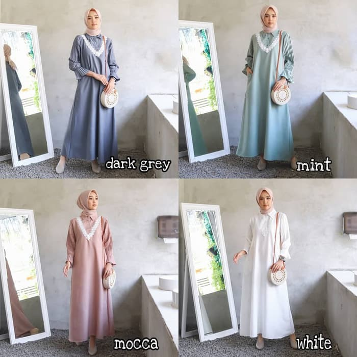 Dress Formal Baju Muslim Wanita Gamis Kancing Depan Natuna Dress Shopee Indonesia