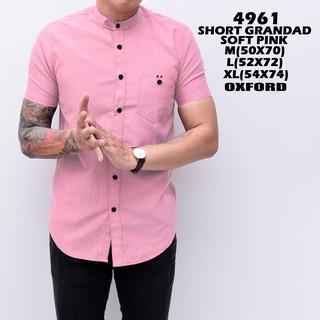 [BLESSING] 4961 Baju Koko Kemeja Pria Shanghai Lengan Pendek Slimfit Grandad Soft Pink Polos Distro