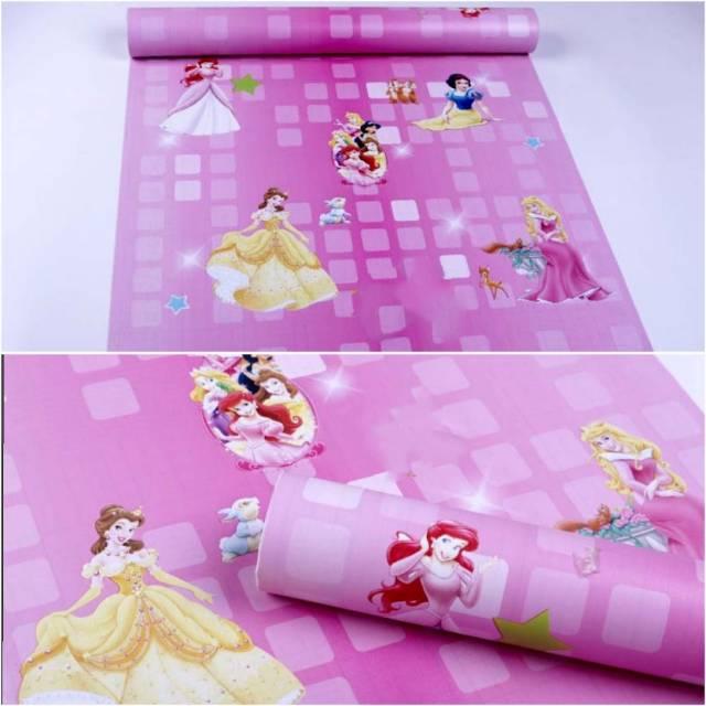 Grosir Murah Wallpaper Sticker Dinding Pink Kartun Princess 10 M X 45 Cm Shopee Indonesia