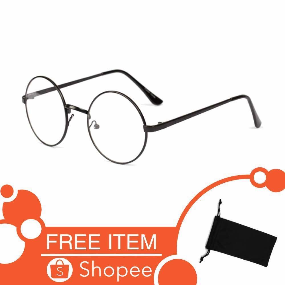 b26764042e3 Kacamata Bulat (Design Korea) Pria dan Wanita - Model Vintage (Silver) Free  Sarung