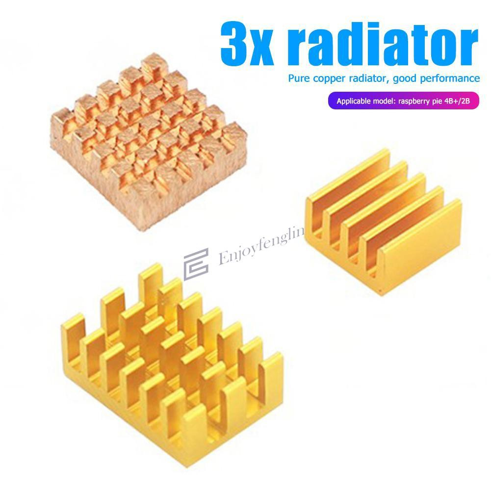 3PCS Fan Heat Sink 1 Copper 2 Aluminum Gold Radiator Set for Raspberry Pi 4B