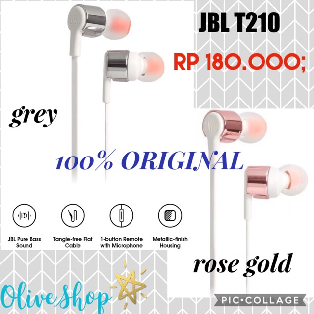 JBL T210 In Ear Earphone Rose Gold Grey ORIGINAL