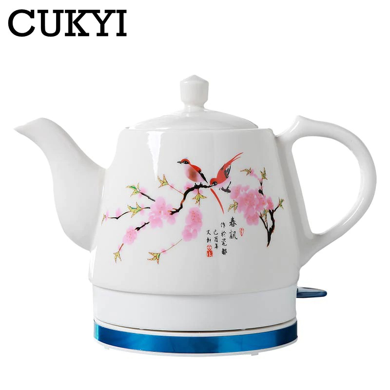 High quality... CUKYI 1.0L Electric Ceramic Tea Kettle with detachable base and boil dry