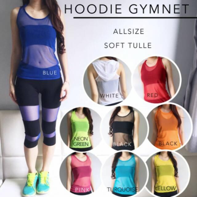 Hoodie Gymnet/Atasan Baju Olahraga/Senam/Aerobic/Zumba