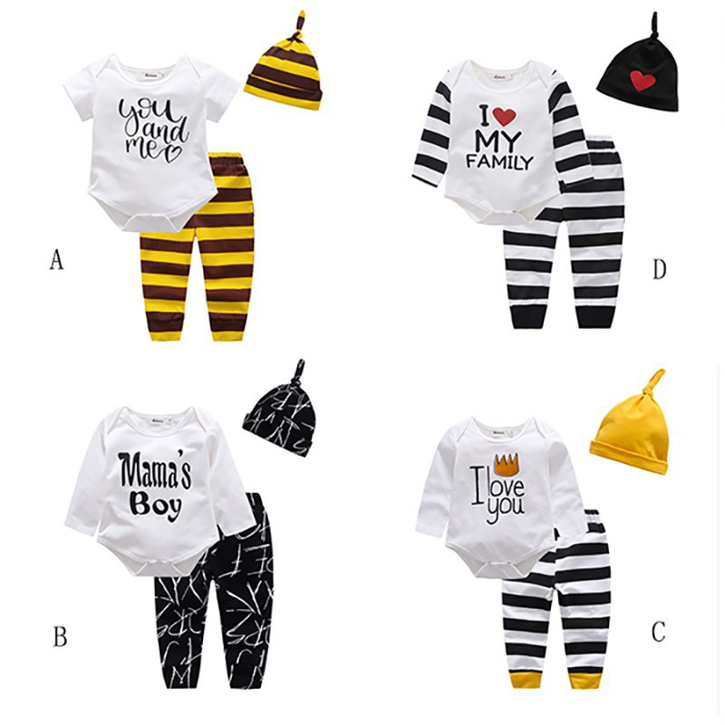 Little Peanut Baby Clothes Set Boy Girl Long Sleeve Cartoon Animal Romper Tops and Trousers Hat Outfits