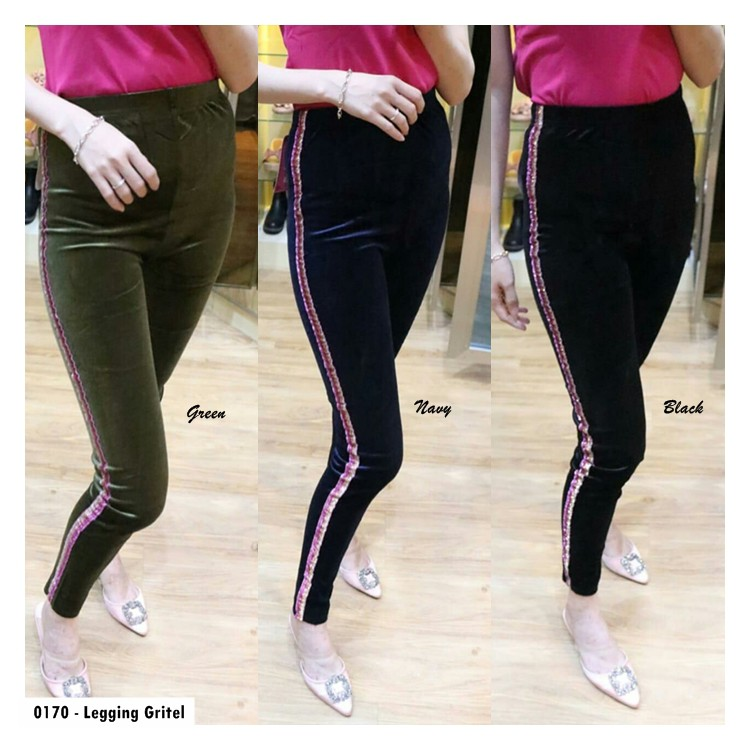 Key 0170 Legging List Gritel Bludru Celana Bahan Legging Wanita Celana Legging Bludru Gq Shopee Indonesia
