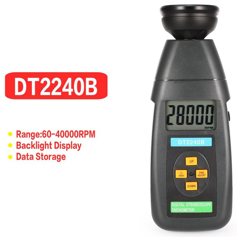 Tachometer DT2240B Flash Tachometer Revolution Meter Portable Digital Plastic Stroboscope Flash Tachometer with Large Screen LCD Display