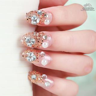 [Ready] 24Pcs Set Kuku Palsu Kristal Berlian Imitasi Warna Emas dengan Lem untuk Pernikahan 2