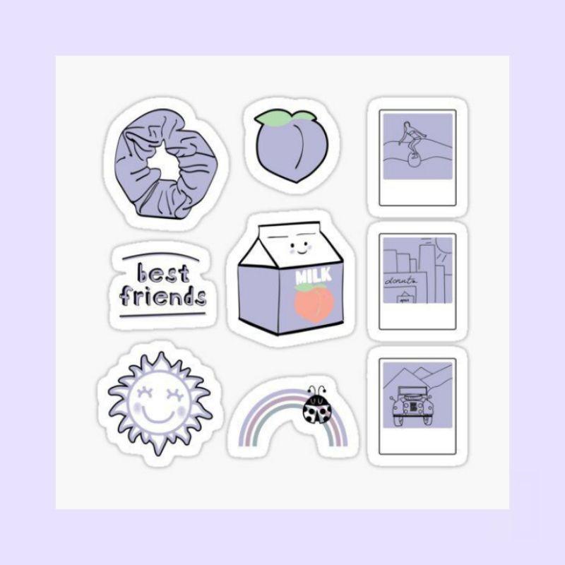 Sticker Aesthetic Tumblr Purple Shopee Indonesia