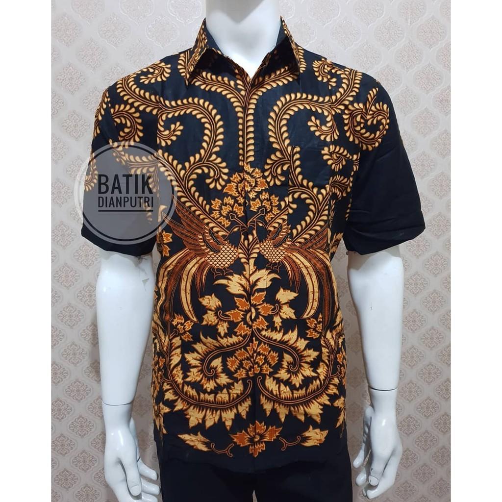 Kemeja Batik Pria Motif Murai Hitam Lengan Pendek Seragam Batik Baju Batik Pria