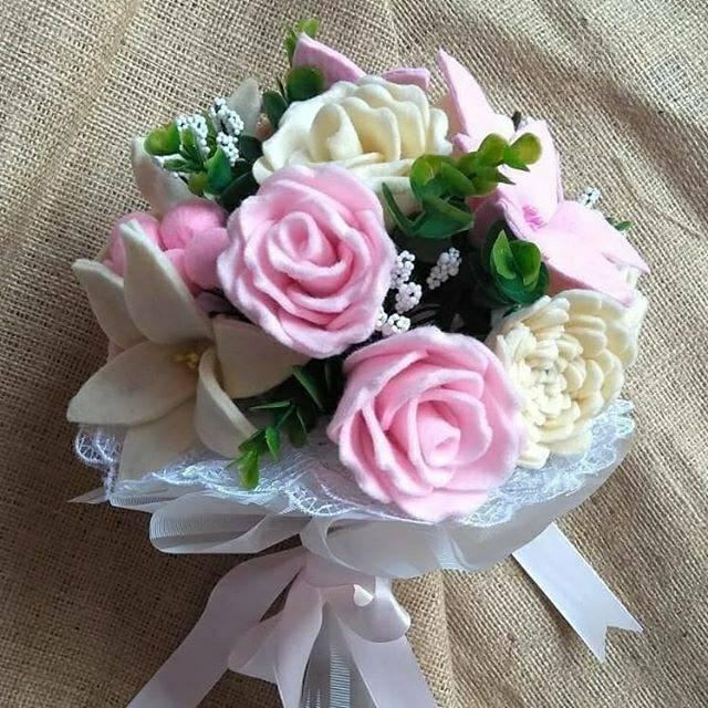 Bunga Flanel Wedding Bouquet Shopee Indonesia