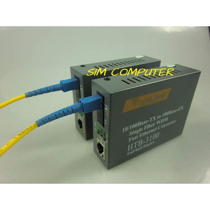 1Pair 10//100Mbps Ethernet to Fiber Optical Media Converter RJ45 Single Mode 25KM