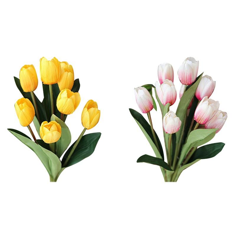 2 Buket 9 Kepala Bunga Tulip Buatan Bahan Sutra Warna Kuning Dan Pink Putih Untuk Dekorasi Rumah Shopee Indonesia