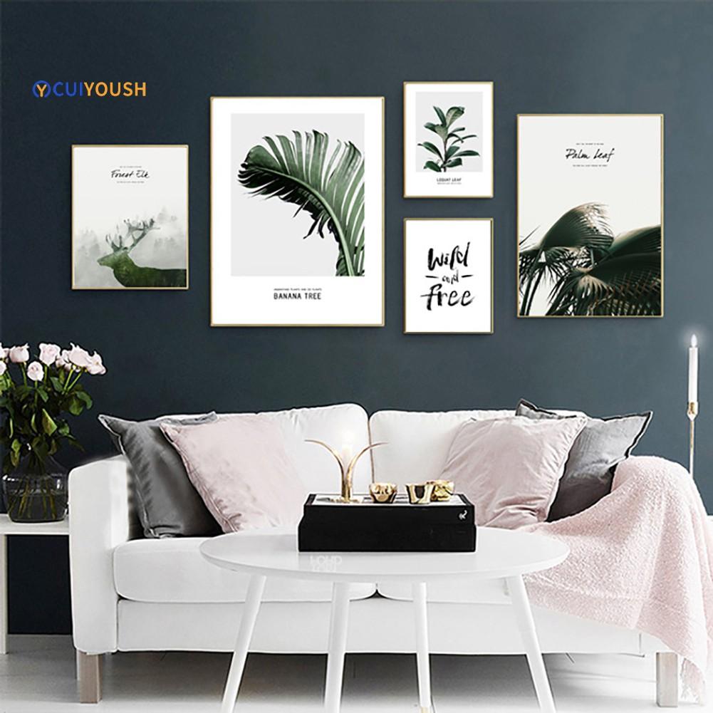 Lukisan Dinding Kanvas Gambar Pohon + Tanaman + Rusa untuk Dekorasi Kamar  Tidur