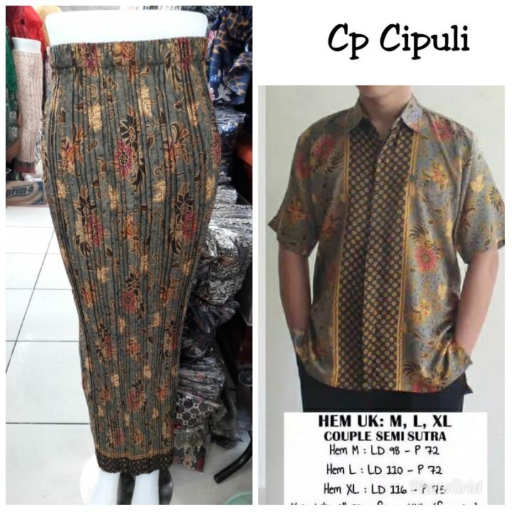 Couple rok plisket jumbo narnia dan kemeja batik .