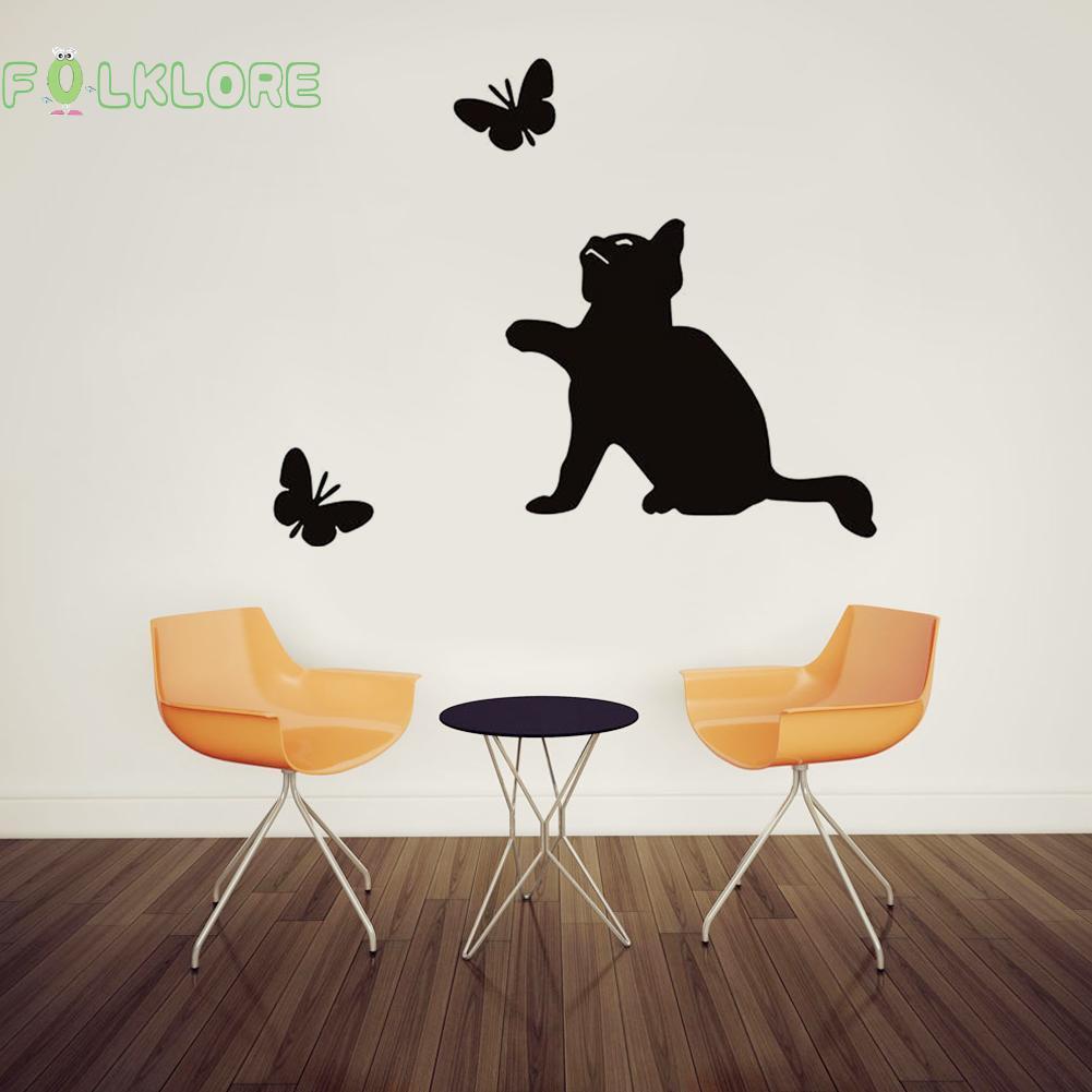 Stiker Dinding Dengan Bahan Tahan Air Mudah Dilepas Gambar Kucing Dan Kupu Kupu Untuk Dekorasi Rumah